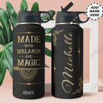 Mandala Black Women Personalized HHE2309005 Stainless Steel Bottle With Straw Lid