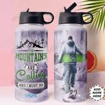 Snowboarding Personalized MDA1310026 Stainless Steel Bottle With Straw Lid