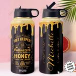 Bee Personalized HTR1710023 Stainless Steel Bottle With Straw Lid