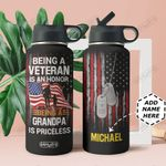 Veteran Personalized MDA2209008 Stainless Steel Bottle With Straw Lid