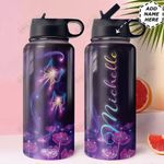 Butterfly Personalized HTQ1210008 Stainless Steel Bottle With Straw Lid