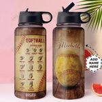 Softball Pitching Grips Personalized HHR1910002 Stainless Steel Bottle With Straw Lid