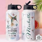 Faith Hummingbird Personalized HHE0310036 Stainless Steel Bottle With Straw Lid