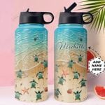 Turtle Personalized HTR1610007 Stainless Steel Bottle With Straw Lid