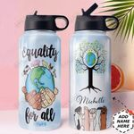 Vegan Personalized HHE0510003 Stainless Steel Bottle With Straw Lid
