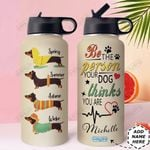 Dachshund Personalized HHE2809007 Stainless Steel Bottle With Straw Lid