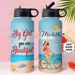 Big Girl Personalized HHE2809003 Stainless Steel Bottle With Straw Lid