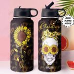 Skull Sunflower KD4 Personalized MDA0110020 Stainless Steel Bottle With Straw Lid
