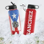 Personalized Puerto Rico Taino Sun PYZ0610019 Stainless Steel Bottle With Straw Lid