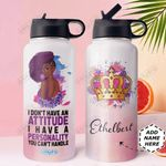 Black Women Personalized DNC1410011 Stainless Steel Bottle with Straw Lid