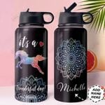 Mandala Horse Personalized HHA1210018 Stainless Steel Bottle With Straw Lid