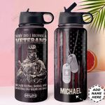 Veteran Personalized MDA2110020 Stainless Steel Bottle With Straw Lid