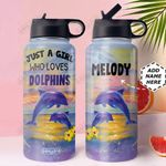 Dolphin Personalized MDA2110018 Stainless Steel Bottle With Straw Lid