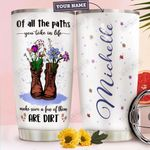 Hiking Flower Boots Personalized HTQ2110010 Stainless Steel Tumbler