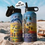 Dolphin Faith Personalized THA2710017 Stainless Steel Bottle With Straw Lid