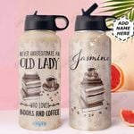 Book Coffee Personalized DNR2710006 Stainless Steel Bottle With Straw Lid