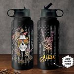 Skull Personalized THA2810035 Stainless Steel Bottle With Straw Lid