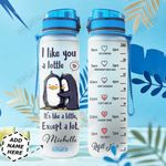 Penguins Couple Personalized HHS2810003 Water Tracker Bottle