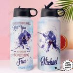 Hockey Choose Something Fun Personalized HHS2810009 Stainless Steel Bottle with Straw Lid