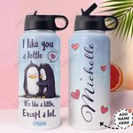 Penguins Couple Personalized HHS2810011 Stainless Steel Bottle with Straw Lid