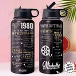 Back in 1980 Personalized HHS3010003 Stainless Steel Bottle with Straw Lid