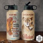 Lion To My Son Personalized HHS3010007 Stainless Steel Bottle with Straw Lid