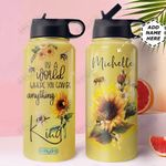 Bee Personalized MDA3010016 Stainless Steel Bottle With Straw Lid