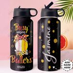 Softball Mom Personalized DNR3010016 Stainless Steel Bottle With Straw Lid