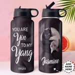 Cat Yin Yang Black White Personaltized DNS3110001 Stainless Steel Bottle with Straw Lid