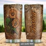Personalized Sunflower Leather Style PYZ3110054 Stainless Steel Tumbler