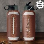 American Football Personalized TTR0211001 Stainless Steel Bottle With Straw Lid