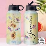 Dragonfly Fe Personalized DNR0211003 Stainless Steel Bottle With Straw Lid