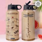 Dragonfly Personalized TTR0211006 Stainless Steel Bottle With Straw Lid