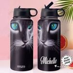 3D Cat Art Personalized HHS0211001 Stainless Steel Bottle with Straw Lid