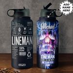 Lineman Label Personalized HHS0211004 Stainless Steel Bottle with Straw Lid