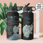 Elephant Mom Personalized THA0211019 Stainless Steel Bottle With Straw Lid