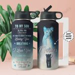 To Lion Son Personalized THA0211025 Stainless Steel Bottle With Straw Lid