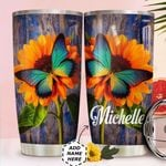 Butterfly Sunflower Personalized HTC0311012 Stainless Steel Tumbler