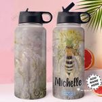Bee Personalized MDA0311001 Stainless Steel Bottle With Straw Lid