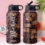 Bee Personalized MDA0311003 Stainless Steel Bottle With Straw Lid