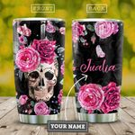 Pinky Skull Roses Personalized KD2 HAL0311011 Stainless Steel Tumbler