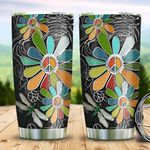 Silver Peace Flower Dragonfly HLZ0311005 Stainless Steel Tumbler