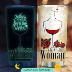 Red Wine Woman Personalized KD2 HNM0311002 Luminous Stainless Steel Tumbler