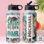 Sloth Spirit Animal Personalized DNS0411005 Stainless Steel Bottle With Straw Lid