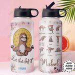 Sloth Yoga Personalized DNS0411006 Stainless Steel Bottle With Straw Lid