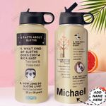 Sloth Facts Personalized DNS0411002 Stainless Steel Bottle With Straw Lid
