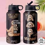 Sloth Meditation Personalized DNS0411003 Stainless Steel Bottle With Straw Lid