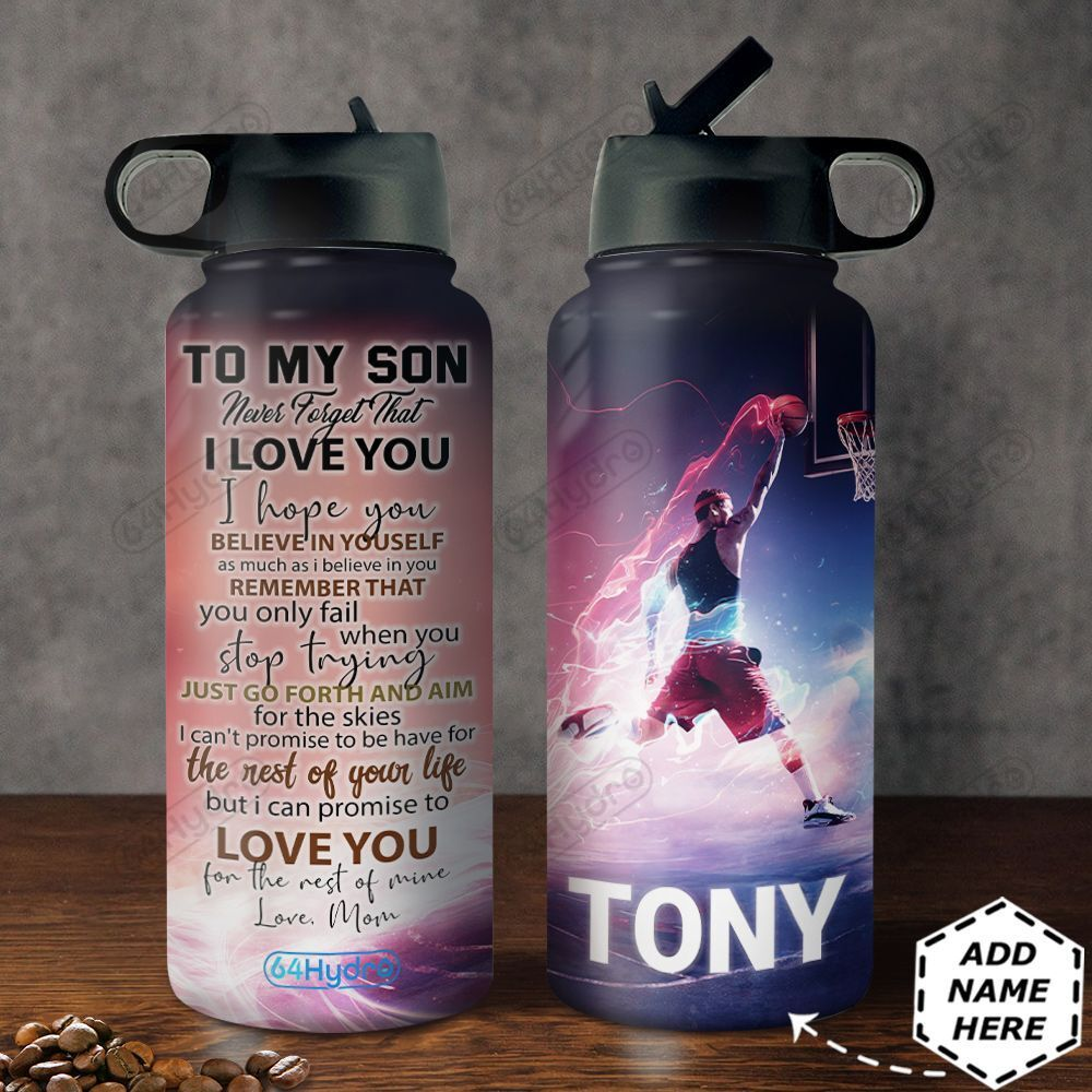 To Basketball Son Personalized MDA0411005 Stainless Steel Bottle With Straw Lid