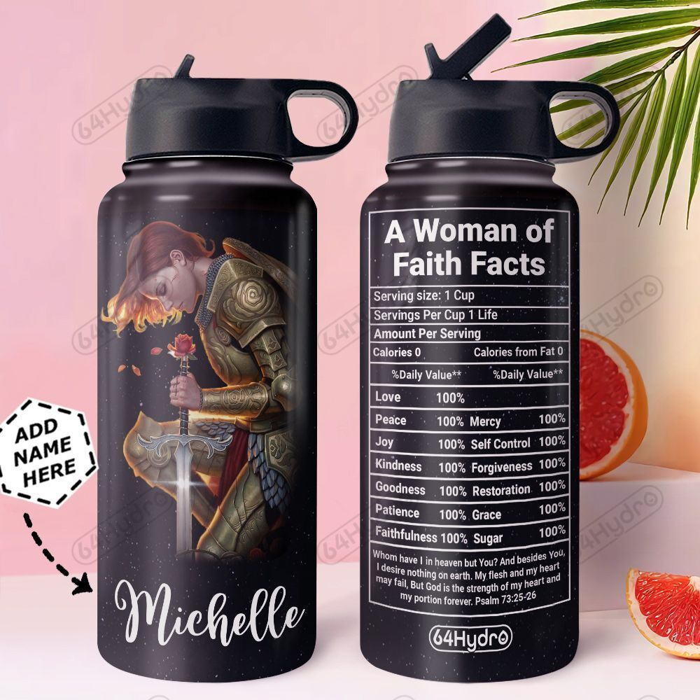 Woman Faith Facts Personalized MDA0411008 Stainless Steel Bottle With Straw Lid