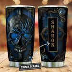 Leather Style Blue Skull Personalized KD2 ZZL0411009 Stainless Steel Tumbler